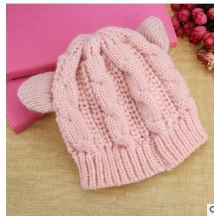 Hand Made 3D Cute Knitted Cat Ear Beanie Cap for Winter